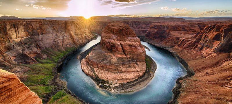Arizona Sunset moment at Horseshoe bend Grand Canyon National Park. Colorado River