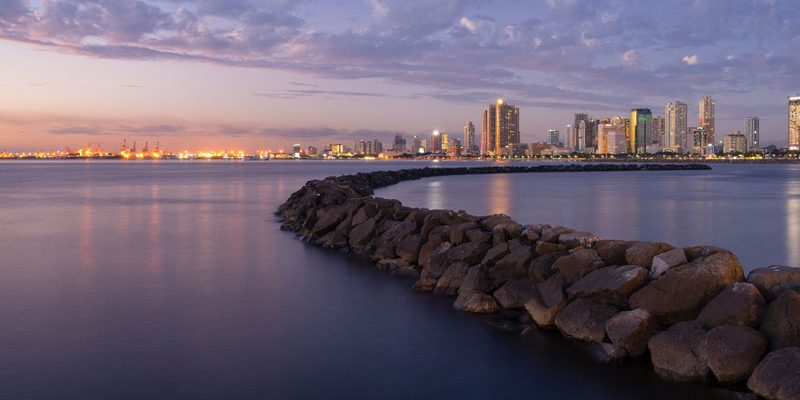 Manila bay water front during sunset, Philippines