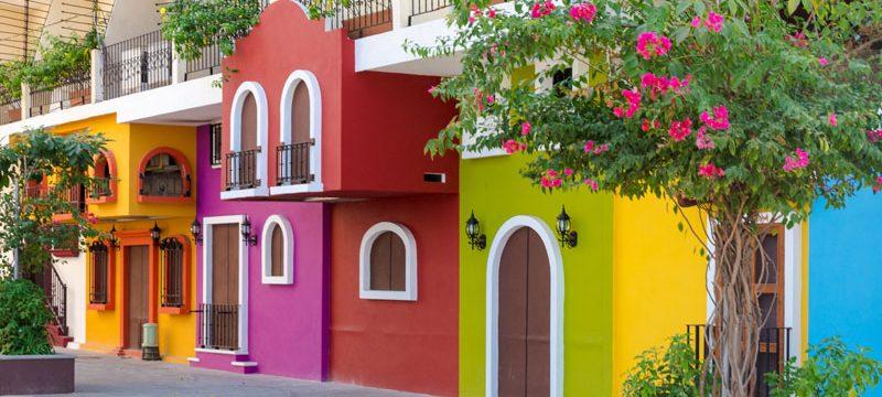 Mexico Colorful apartment building in Puerto Vallarta